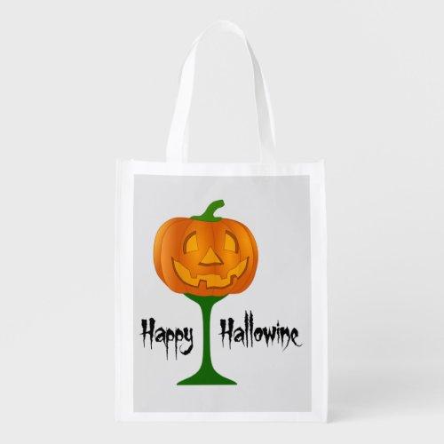 Happy Hallowine Pumpkin Wine Glass Halloween Reusable Grocery Bag