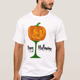 Happy Hallowine Pumpkin Wine Glass Halloween T-Shirt