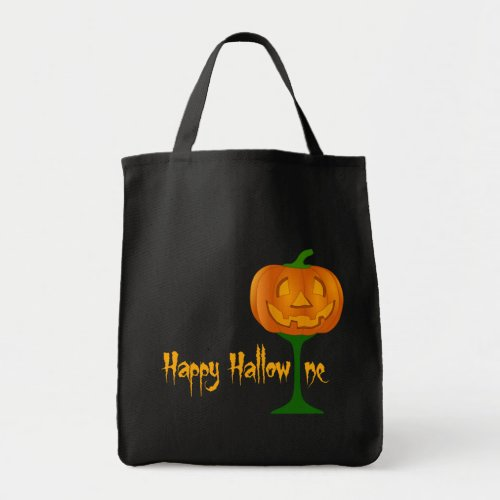 Happy Hallowine Pumpkin Wine Glass Halloween Tote Bag