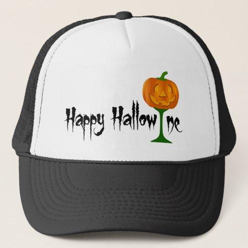 Happy Hallowine Pumpkin Wine Glass Halloween Trucker Hat