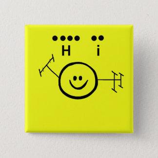 "Happy Ham Yellow  Morse Code ""Hi"" Button"