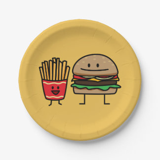 Happy Hamburger and Fries 7 Inch Paper Plate