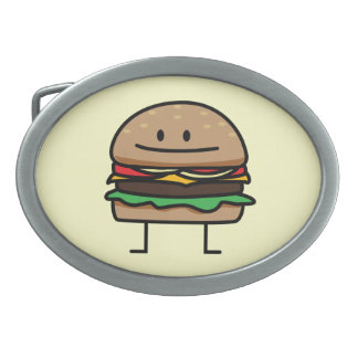 Happy Hamburger Belt Buckle