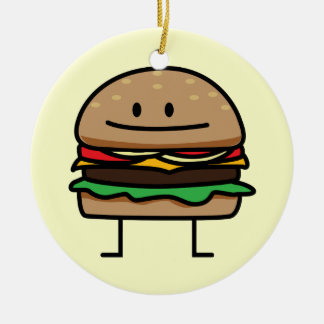 Happy Hamburger Ceramic Ornament