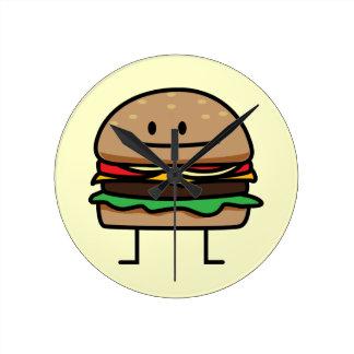 Happy Hamburger Round Clock