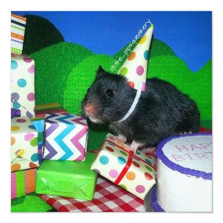 "Happy Hamster Birthday! 5.25"" Square Invitation Card"