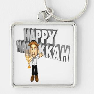 Happy Hanakkuh Silver-Colored Square Keychain