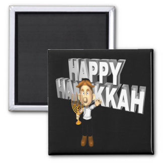 Happy Hanakkuh 2 Inch Square Magnet