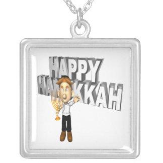 Happy Hanakkuh Square Pendant Necklace