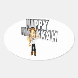 Happy Hanakkuh Oval Sticker