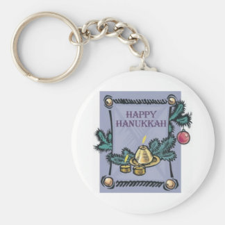 Happy Hannakah Basic Round Button Keychain