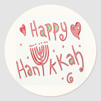 Happy Hannukah Classic Round Sticker