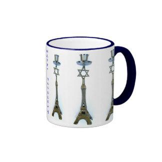 HAPPY HANNUKAH EIFFEL TOWER STAR OF DAVID MUG