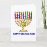 "Happy Hannukah Menorah Card<br><div class=""desc"">A bright Hannukah menorah with the words Happy Hannukah welcomes the holiday.   Happy latke eating!</div>"