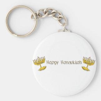 Happy Hannukkah Basic Round Button Keychain