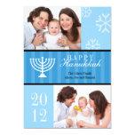 "Happy Hannukkah blue stripes menorah photo card 5"" X 7"" Invitation Card"