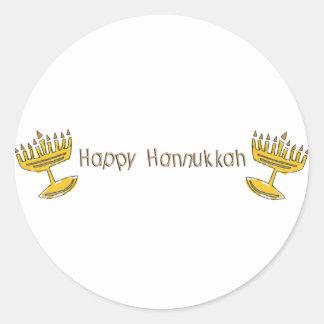 Happy Hannukkah Classic Round Sticker