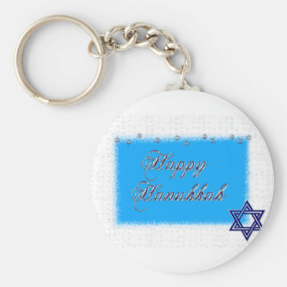 happy hannukkah star 5 basic round button keychain
