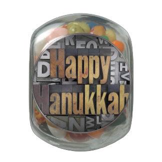 Happy Hanukkah 3 Glass Candy Jars