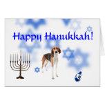 Happy Hanukkah American Fox hound Greeting Card