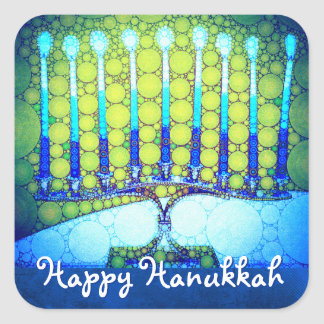 """Happy Hanukkah"" Artsy Blue & Green Menorah Photo Square Sticker"