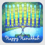"""Happy Hanukkah, Artsy Turquoise Blue Green Menorah Square Sticker<br><div class=""""desc"""">""""Happy Hanukkah."""" A close-up photo of a bright, colorful, blue artsy menorah photo helps you usher in the holiday of Hanukkah. Feel the warmth and joy of the holiday season whenever you use this stunning, colorful Hanukkah sticker. Matching cards, stamps, tote bags, serving trays, and other products are available in...</div>"""