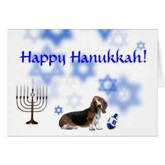 Happy Hanukkah basset hound Card