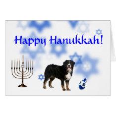 Happy Hanukkah Bernese Mountain Dog Card at Zazzle