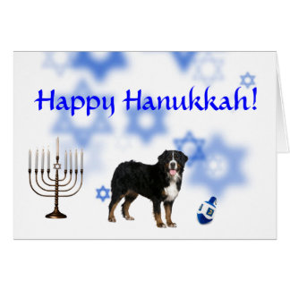 Happy Hanukkah Bernese Mountain Dog Card