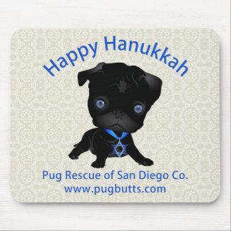 Happy Hanukkah Black Pug Mouse Pad