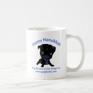 Happy Hanukkah Black Pug Classic White Coffee Mug