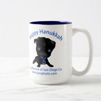Happy Hanukkah Black Pug Two-Tone Coffee Mug