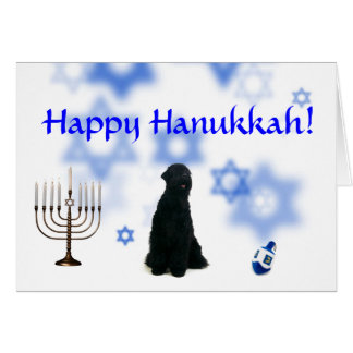 Happy Hanukkah Black Russian Terrier Card