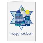 Happy Hanukkah Blue Greeting Card