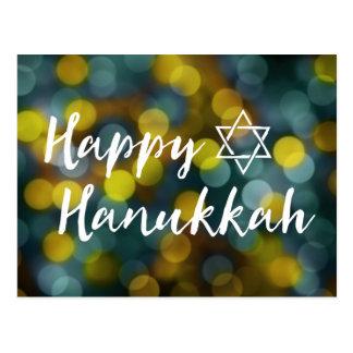 happy hanukkah bokeh lights postcard