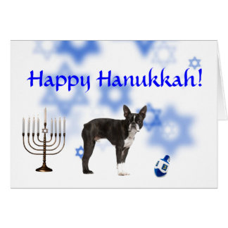 Happy Hanukkah Boston Terrier Card