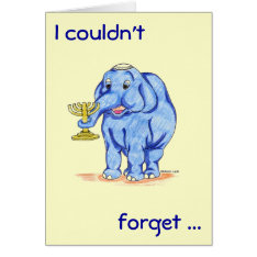 Happy Hanukkah Card With Cute Elephant at Zazzle