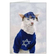 Happy Hanukkah Cat With Payot And Yarmulke Card at Zazzle