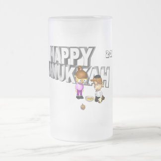 Happy Hanukkah Celebration - 16 Oz Frosted Glass Beer Mug