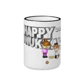Happy Hanukkah Celebration - Ringer Coffee Mug