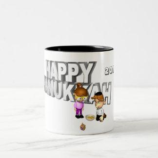 Happy Hanukkah Celebration - Two-Tone Coffee Mug