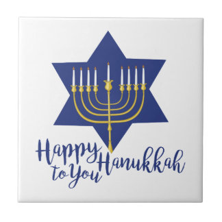 Happy Hanukkah Ceramic Tile