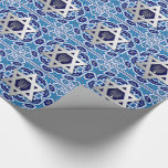 "Happy Hanukkah / Chanukah Gift Wrapping Paper<br><div class=""desc"">Happy Hanukkah! Happy Chanukah! Star of David and Menorah Design Gift Wrapping Paper. Matching cards,  postage stamps and other products available in the Jewish Holidays / Hanukkah Category of our store.</div>"