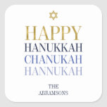 "Happy Hanukkah Chanukah Holiday Sticker<br><div class=""desc"">Faux simulated gold foil design is incorporated in this design. Personalize the custom text above. You can find additional coordinating items in our ""Happy Hanukkah Chanukah"" collection.</div>"