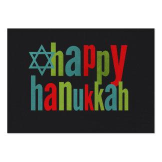 Happy Hanukkah Colorful on Chalkboard Business Card Templates