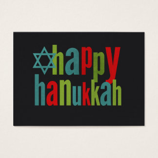 Happy Hanukkah Colorful on Chalkboard Business Card