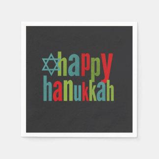 Happy Hanukkah Colorful on Chalkboard Paper Napkin