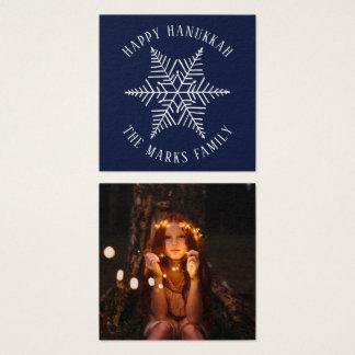 Happy Hanukkah Custom Greeting Snowflake Gift Square Business Card