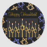 """Happy Hanukkah! Custom Large Sticker Template<br><div class=""""desc"""">Happy Hanukkah! Personalize this custom beautiful sticker available in two sizes. Add graphic impact to your greeting card, Hanukkah card or for a holiday party invitation. Add your own personalized messages. Complete a coordinated elegant set: In our store zazzle.com/celebrationsevents* see matching Invitations, Announcements, Greeting Cards, PostCards, Postage Stamps, Apparel, Gifts...</div>"""