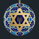 "Happy Hanukkah! Custom Year Ornaments<br><div class=""desc"">Happy Hanukkah! Star of David and Menorah Design Hanukkah Gift Ornaments with personalized year. Matching cards,  postage stamp,  envelopes and other products available in the Jewish Holidays / Hanukkah Category of our store.</div>"